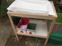 Ikea baby changing table with shelf and storage noxes