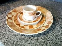 X restaurant churchill place settings, tuscany patten, 2 plate sizes, cup and saucer