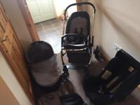 Oyster Travel System - Carrycot / Stroller / Britax Stage 1 Car Seat with grey colour pack