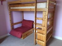 Kids Bunk Bed complete with sofa/futon guest bed plus separate desk, Solid Pine