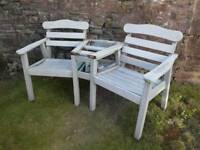 SOLD - FREE Garden love seat, broken table top, collection Whitchurch