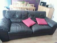 Pair real leather 3 seater sofas