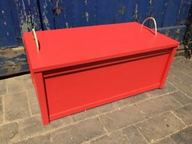 Pastel red toy box, good for boy or girl, newly made