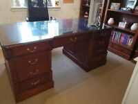 BANKERS DESK WITH LEATHER INLAY AND GLASS TOP