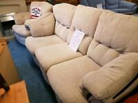 Lovely cream fabric sofa and recliner armchair