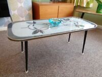 Vintage 1960's Glass-Top Coffee Table