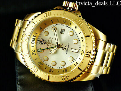 Invicta Reserve 52mm SKULL HYDROMAX SWISS Movement Silver Dial Gold Tone Watch Gmt Quartz Watch