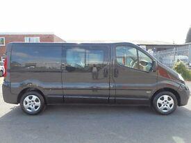 NO VAT!! Vauxhall Vivaro Sportive Lwb 6 seat crew van in black, full service history, One owner..