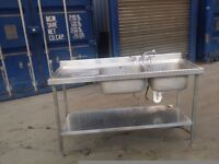 Stainless Steel Double Bowl Sink Commercial Catering Kitchen Sink