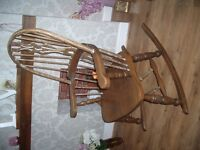 """ANTIQUE HAND CARVED SOLID OAK """"WINDSOR"""" ROCKING CHAIR... extremely firm and solid."""