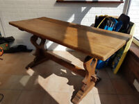 Antique, solid oak refectory table