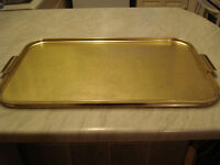 Vintage large gold coloured serving tray with handles, 'Carefree' English made