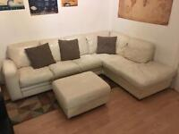 Leather Corner Sofa Couch in Cream / White with Pouffe / Footstool