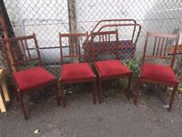 4 x Matching Dining Table Chairs, Mahogany with Wine Red Padded Draylon Seat