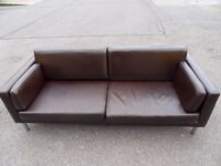 IKEA SATER THREE SEATER SHINY BROWN LEATHER SOFA (I CAN DELIVER TODAY)