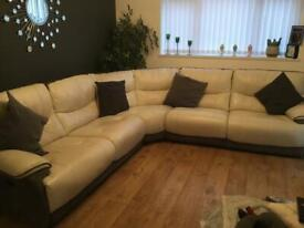 Leather corner power recliner sofa white and grey