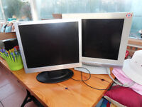 TWO MONITORS AS SEEN ON PIC SOME CABLES ATTACHED.