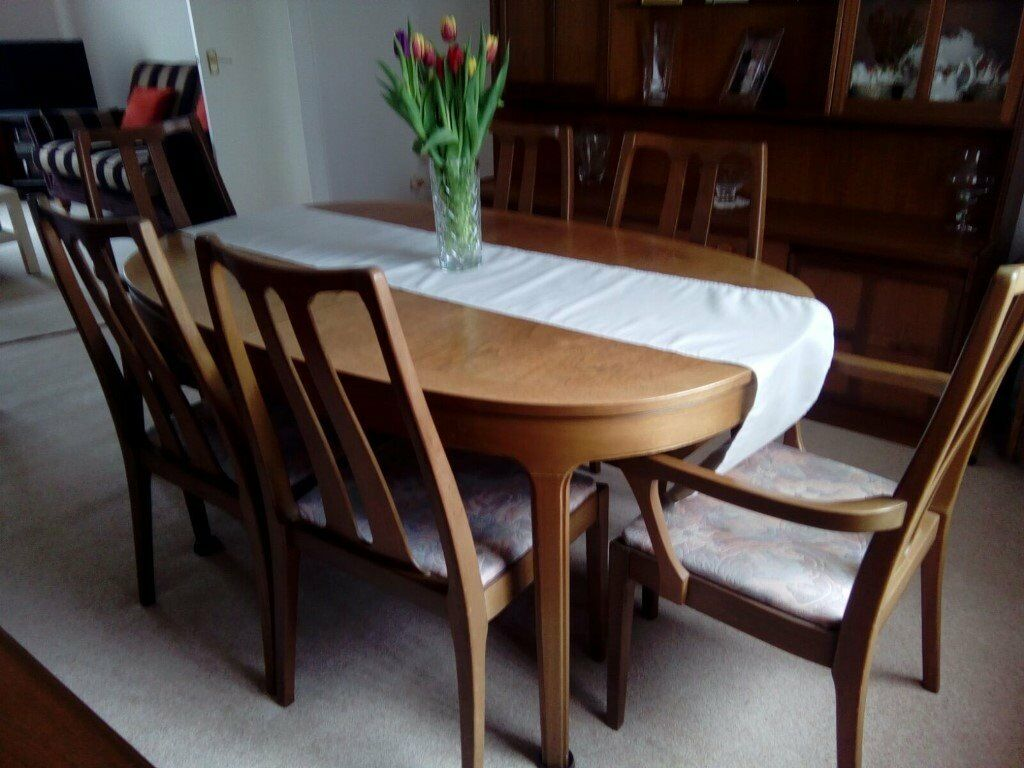 Nathan Teak Dining Table And 6 Chairs Display Cabinet