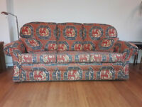 Three seat Peter Guild sofa, chair and storage footstool