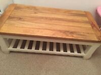 Solid 'Oak Furniture Land' Large Coffee Table shabby chic base