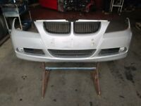 2006 BMW E90 FRONT BUMPER IN TITAN SILVER COMPLETE WITH GRILLS #4424