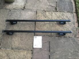 Car roof bars. Halfords system E. For cars with roof rails. £45 (normally £85). Very good condition.