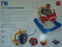 2 in 1 Plane Baby Walker, Baby Walker, Mothercare, New Mothercare
