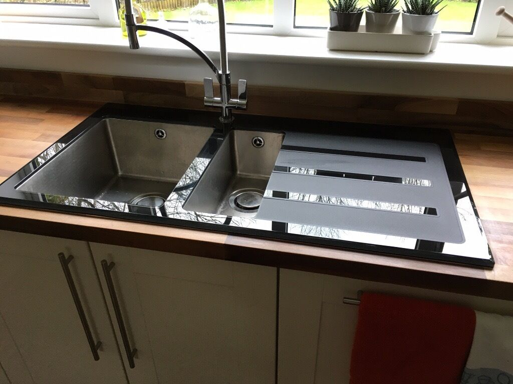 Stylish modern wickes rae black glass kitchen sink tap not included