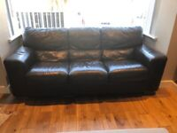 3 and 2 black leather sofas