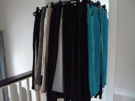 30 PAIRS OF TROUSERS, JEANS & JEGGINGS. SIZE 12's MAINLY MARKS & SPENCERS.