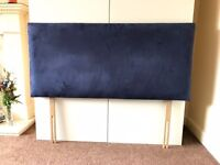 Blue Suedette Headboard for 4ft Guest-bed