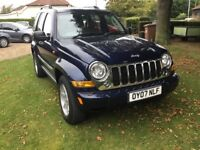 Jeep Cherokee limited 2.8 diesel 4x4, 6 spd manual in met blue. 2007 07plate