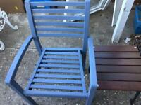 2 grey/blue garden chairs
