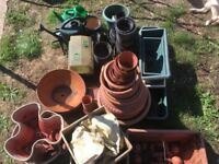 Assortment of plastic and terracotta garden pots with 3 grow bags, 4 watering cans and incubator