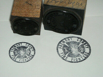 Lot Of 2 Vintage Fremont County Fire Fighters Flexograph Wood Block Print Stamp
