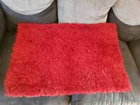 Small Red Chenile Fluffy rug