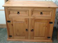 Solid Pine Wood Sideboard Storage Unit Two Drawers Cupboard Fixed Shelf