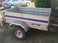 """Larger franc tipping trailer + spare wheel 5ft x 3ft 6"""""""