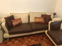 Italian leather sofa and armchair set