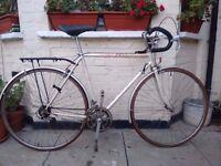 Vintage white Peugeot racer bike