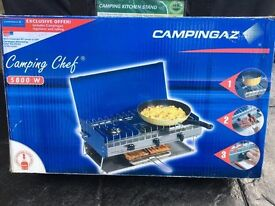 Dual ring camping cooker with grill