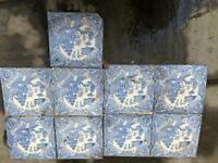 Collectible blue willow tiles