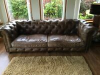 Leather sofa, chair and footstool Chesterfield
