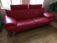 Real red leather 3 seater sofa
