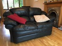 LEATHER SOFA - two seater, used, dark blue/black