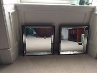 2 Square Antique Style Mirrors