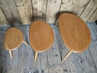 Ercol pebble nest in mint vintage original condition natural finish gold label