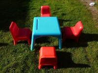 ELC Plastic table and 4 chairs