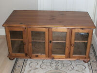 Wood/glass TV/storage cabinet. Colour as shown in photos.