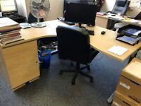large office desks for sale, there are 4 in total 73cm (H) 160cm (L) 160cm (W) all beach colour